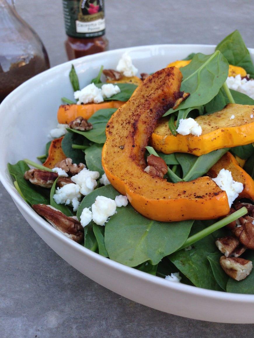 Acorn Squash & Spinach Salad