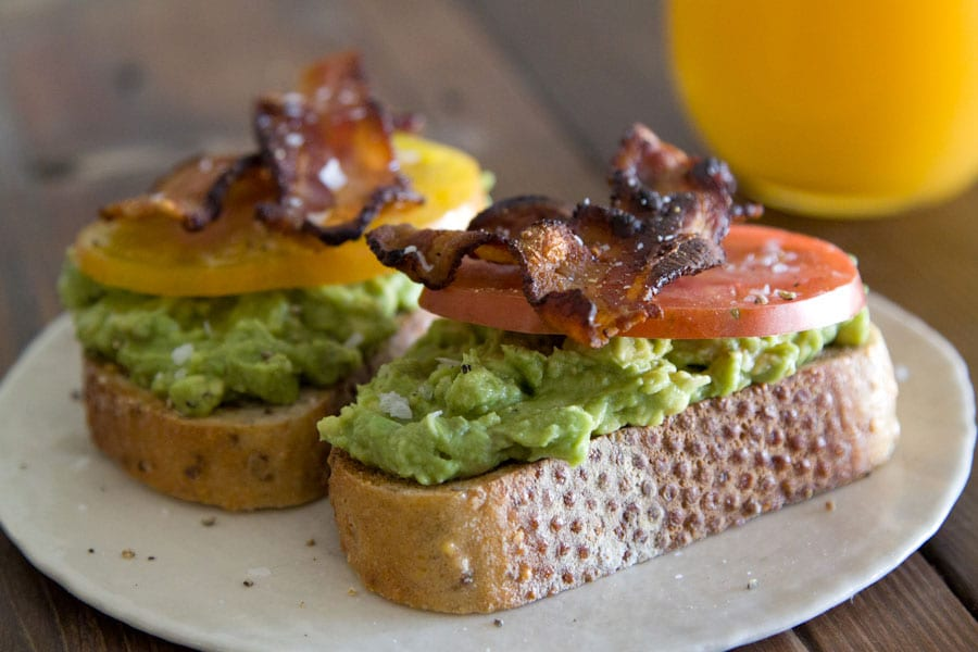 Avocado Bacon Tomato Toast from www.whatsgabycooking.com