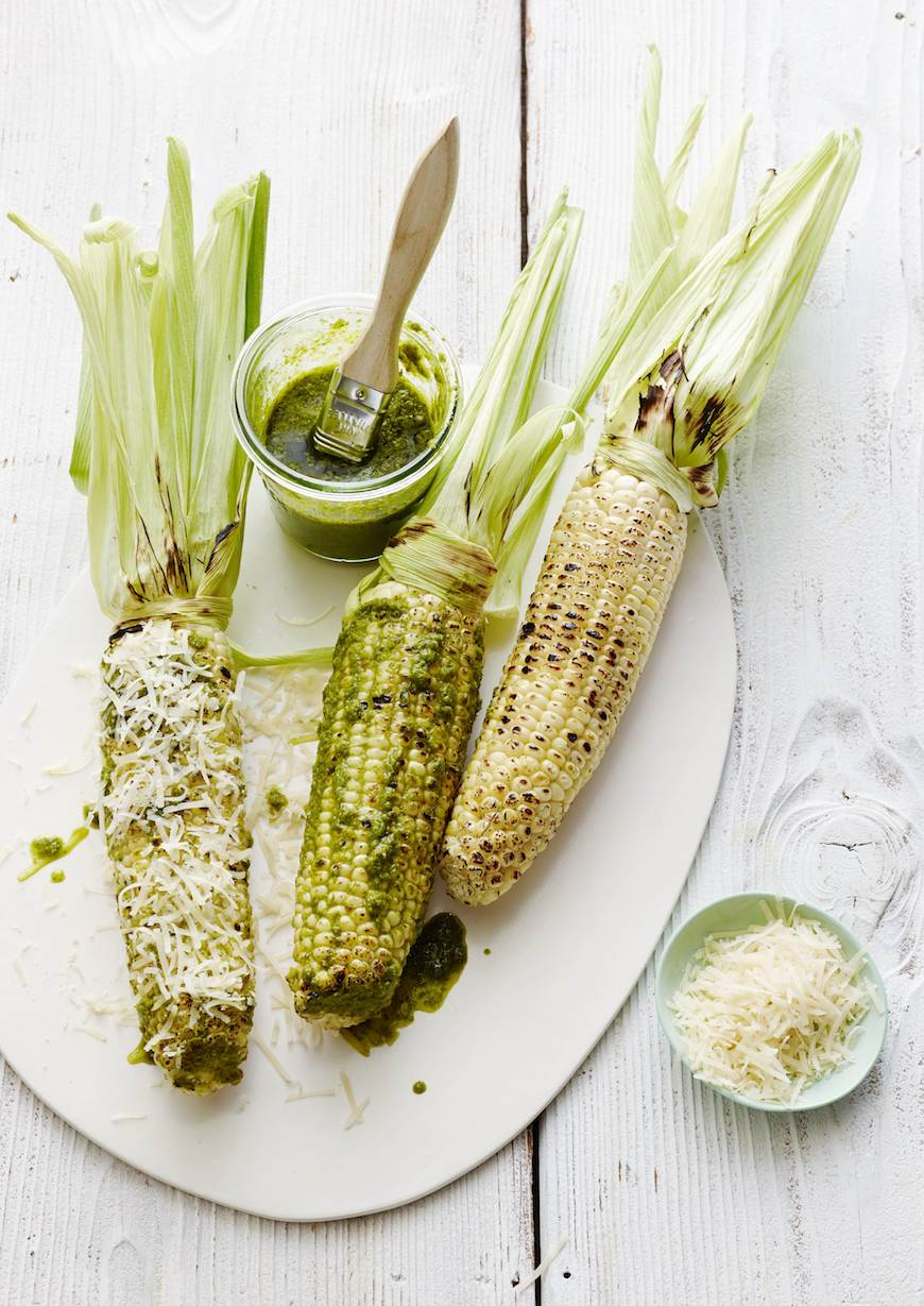 Basil Parmesan Grilled Corn