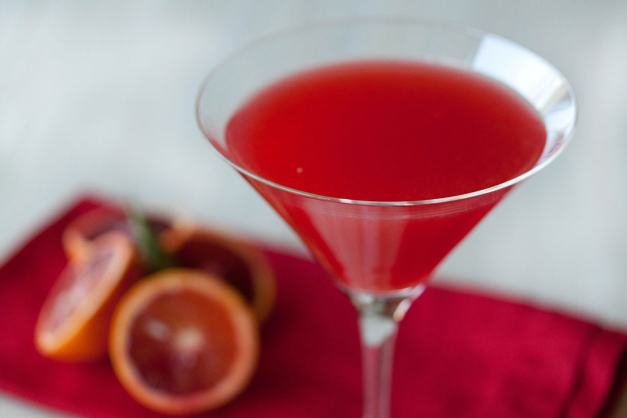 Basil Infused Blood Orange Cocktail