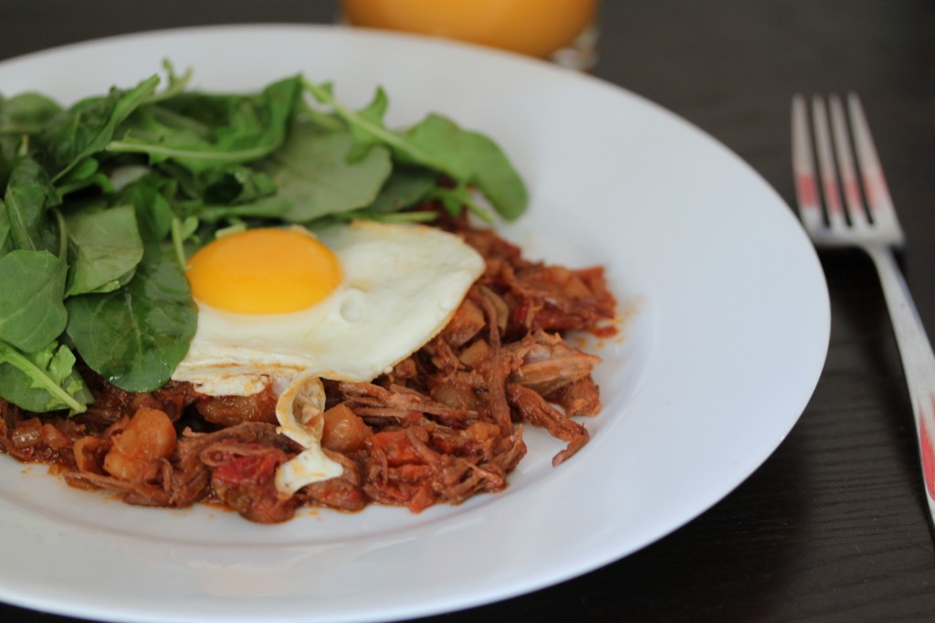 Niman Ranch Brisket with Fried Eggs and Arugula