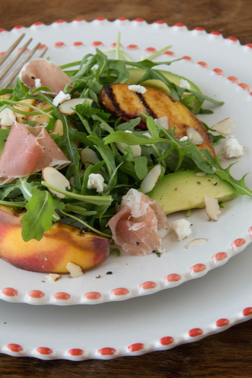 Grilled Peach Salad with Arugula and Sliced Almonds