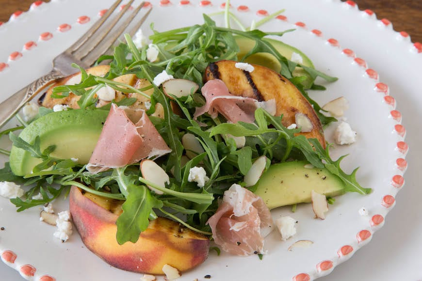 Grilled Peach & Arugula Salad with Mustard Herb Vinaigrette