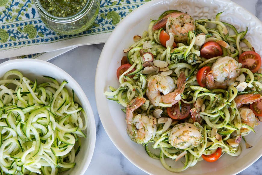 Zucchini Noodles and Grilled Shrimp with Lemon Basil Dressing Recipe