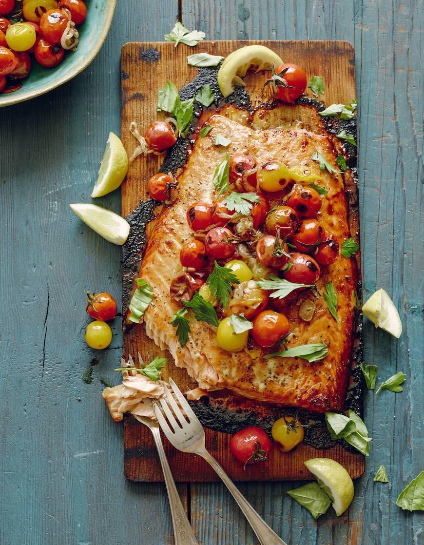 Cedar Plank Salmon + Blistered Tomatoes