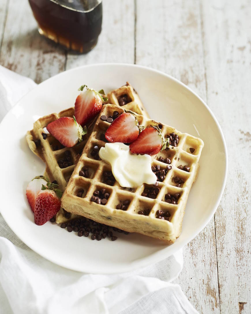 ... that's changing today with these Chocolate Chip Almond Waffles