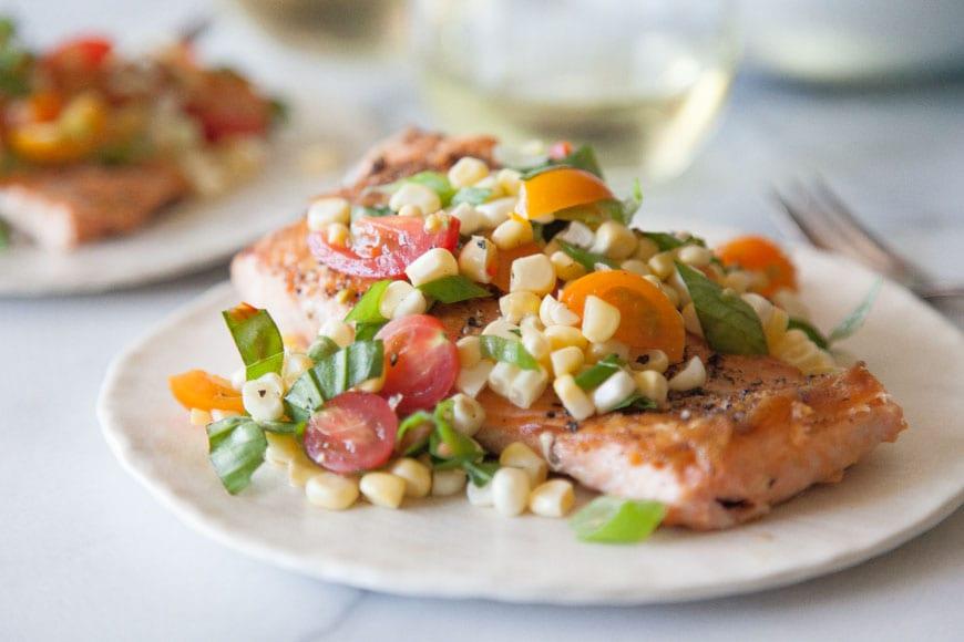 Crispy Salmon w: Succotash