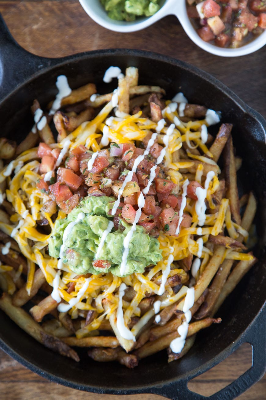 Fiesta Fries with Cheese, Guacamole and Pico de Gallo