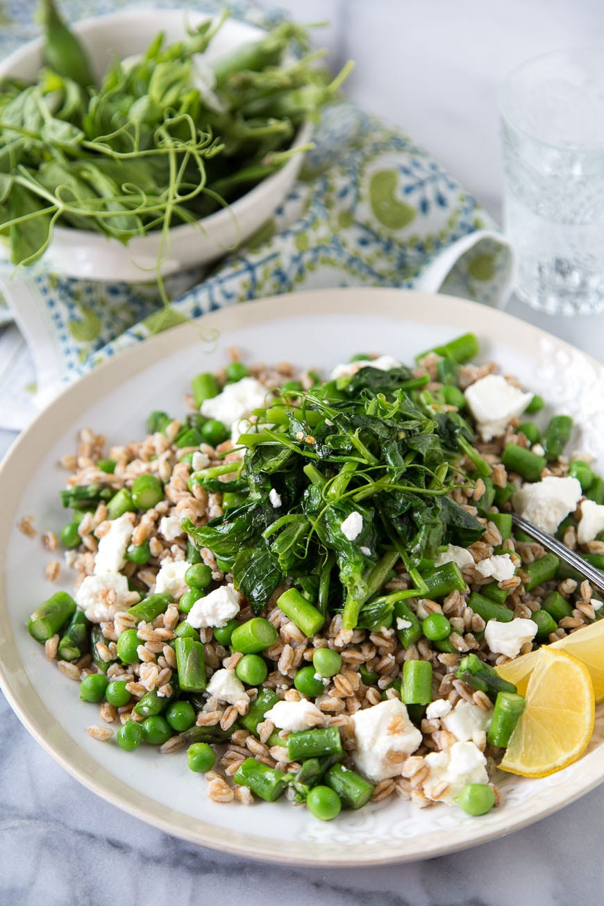 Spring Pea Farro Salad with English peas, pea tendrils, asparagus, feta and a lemon champagne vinaigrette