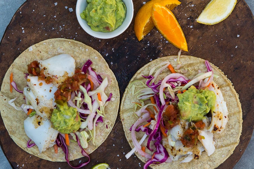 Perfect Fish Tacos with Curdito - a cabbage slaw that is life changing!