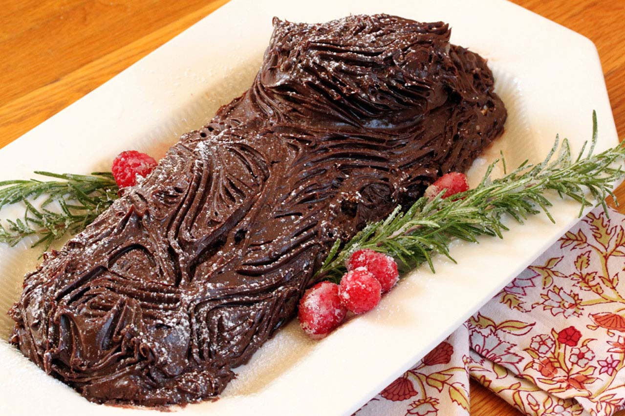 Christmas Log.Chocolate Yule Log