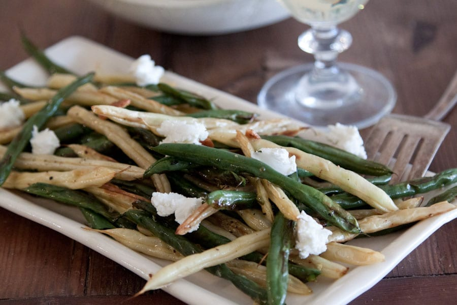 Roasted Green Beans with Goat Cheese