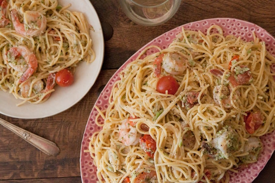 Goat-Cheese-and-Shrimp-Pasta
