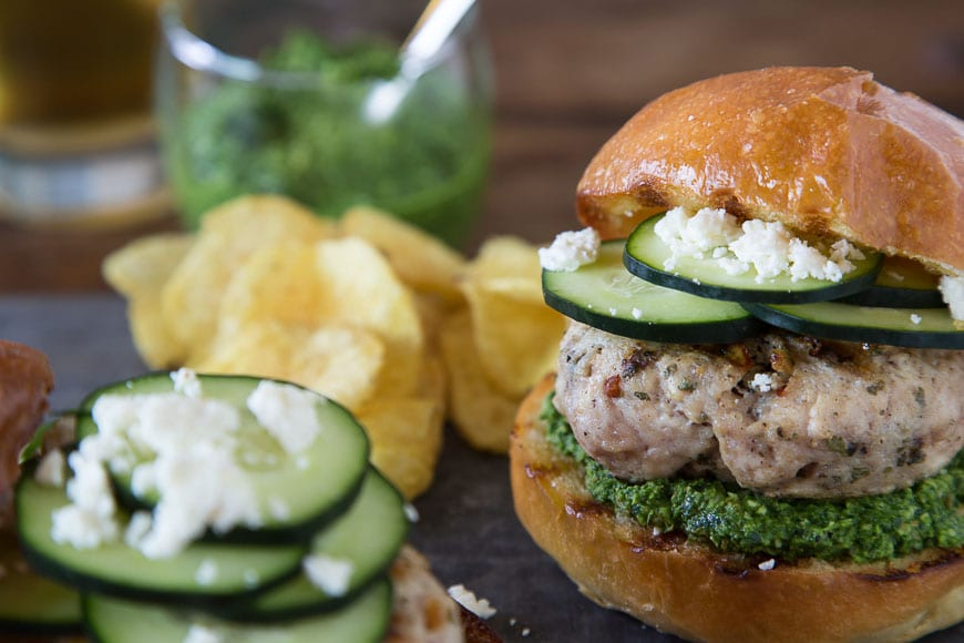 Green Harissa Turkey Burgers Recipe