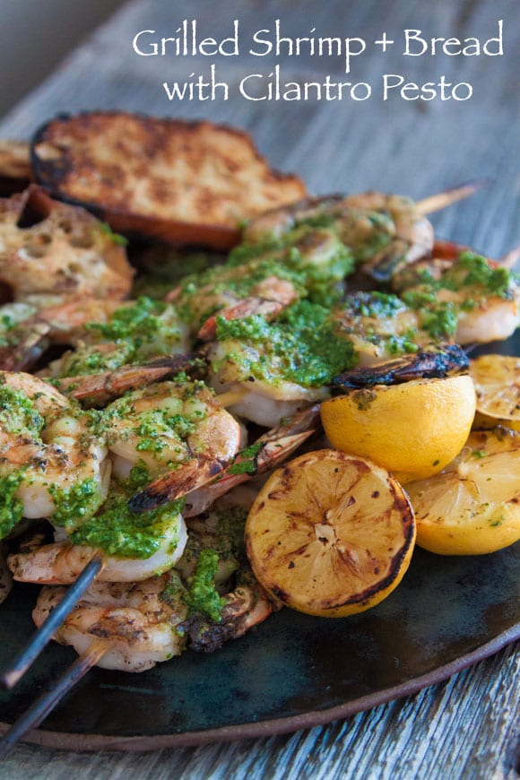 Grilled Shrimp + Bread with Cilantro Pesto copy