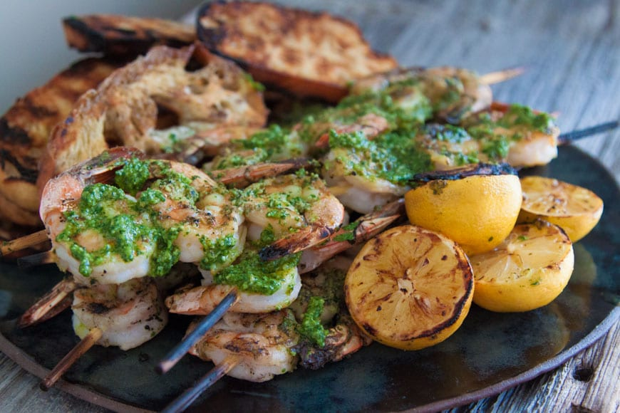 Grilled Shrimp and Bread with Cilantro Pesto