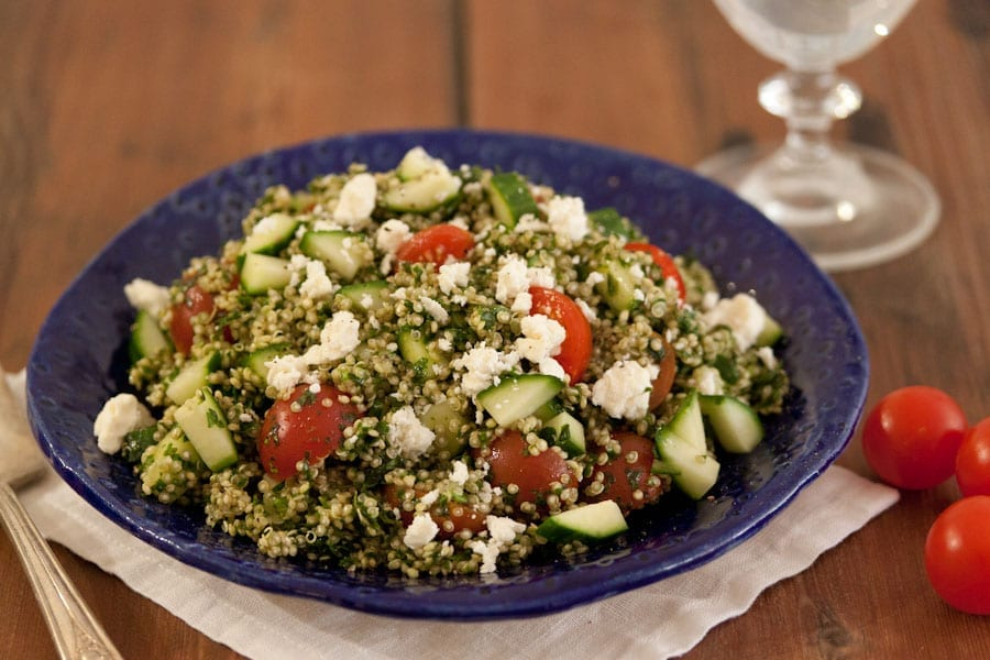Herbed Quinoa Salad with Cucumber, Tomato and Feta