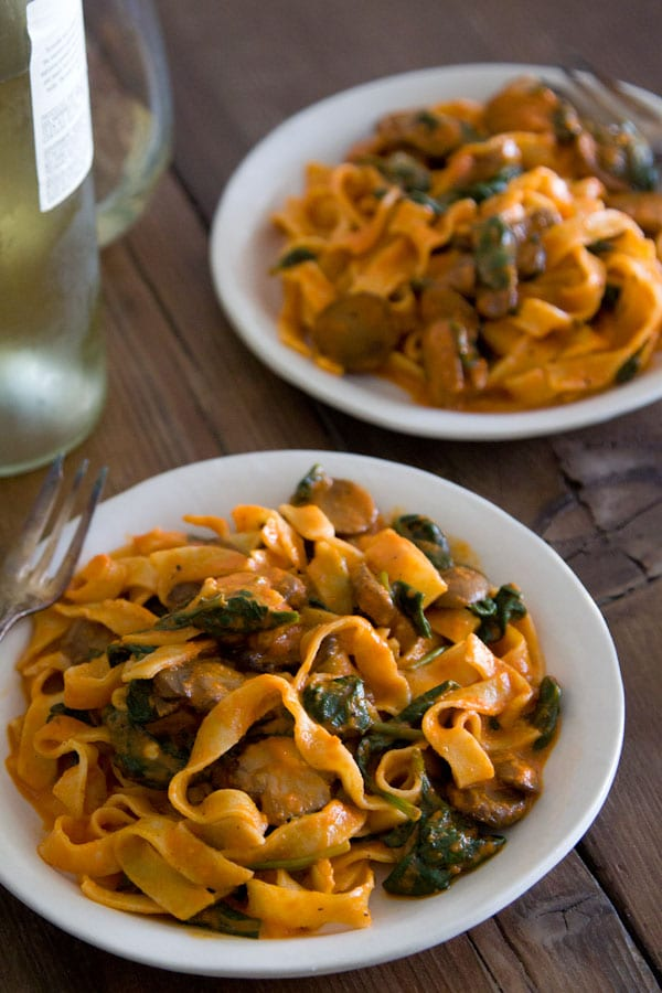 Red Pepper Pasta with Mushrooms and Spinach from www.whatsgabycooking ...