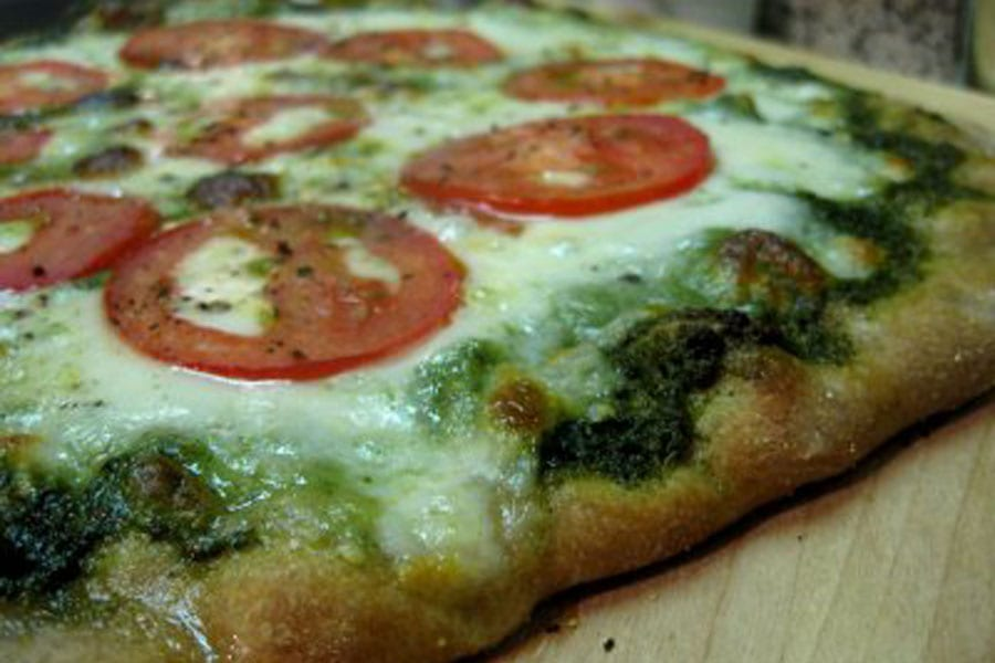Mozzarella, Tomato and Pesto Pizza
