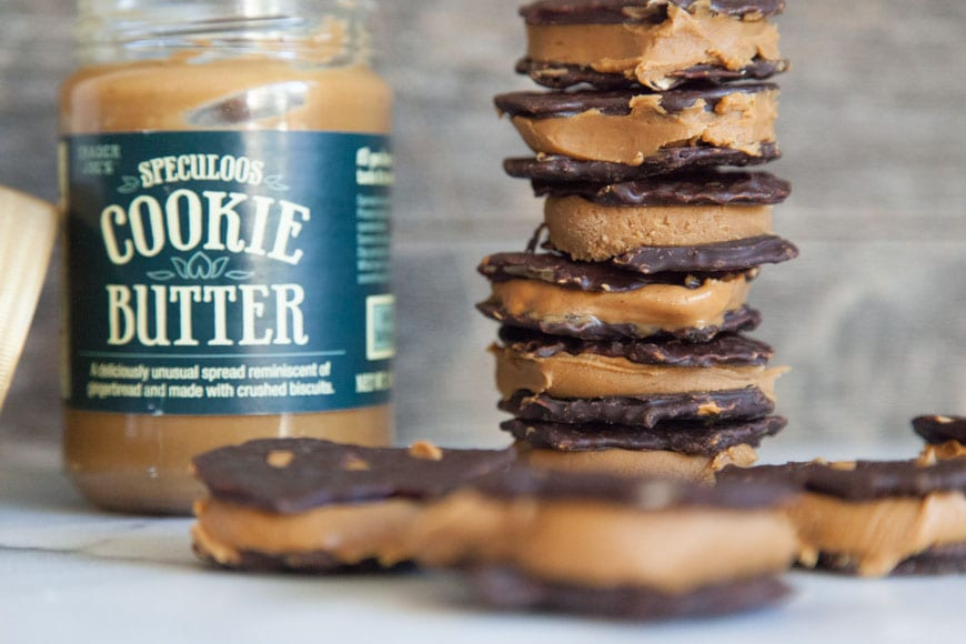 Chocolate Covered Pretzel Cookie Butter Sandwiches