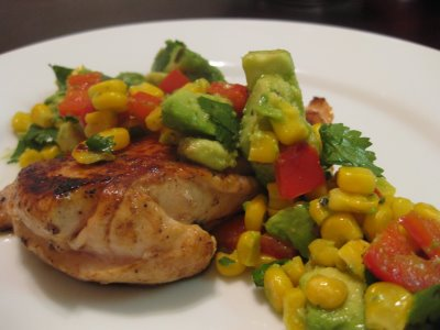 Lemon Chicken with an Avocado, Cilantro and Red Pepper Salad