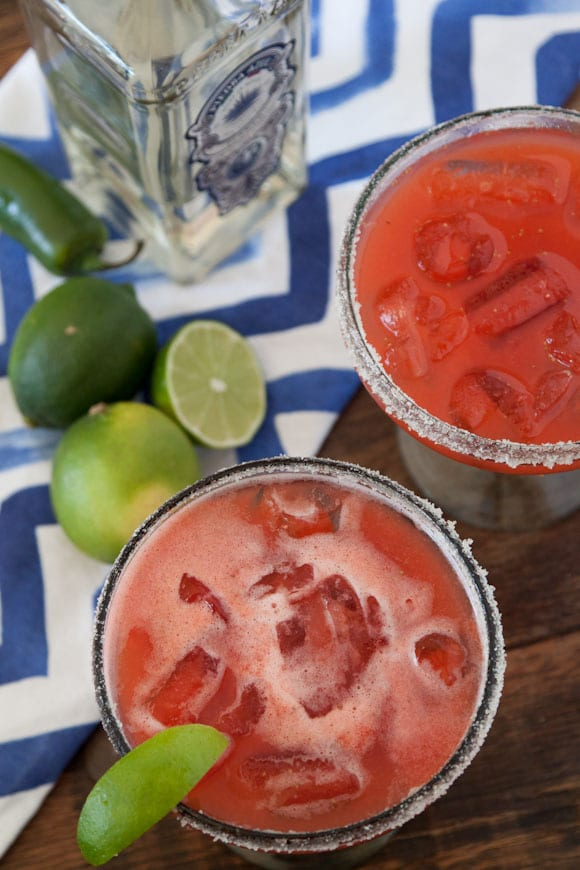 Strawberry Jalapeño Margaritas from www.whatsgabycooking.com