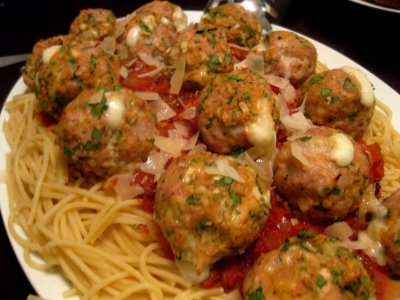 Bucatini All'Amatriciana with Spicy Mozzarella Meatballs