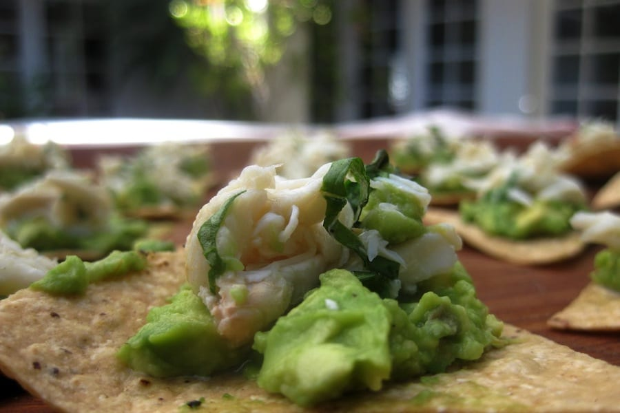 Crab and Avocado Dip on Tortilla Chips - What's Gaby Cooking
