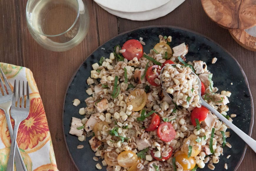 Chicken, Corn and Farro Salad