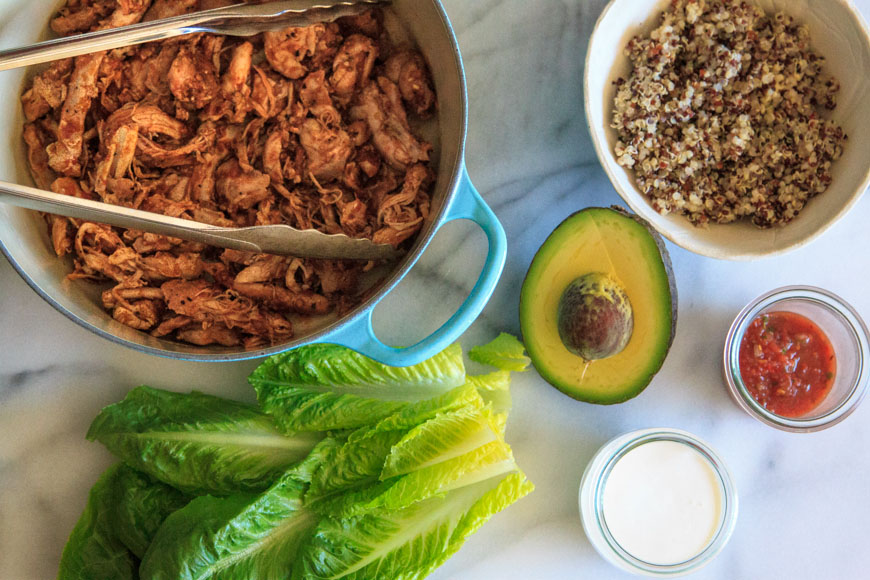 Mexican Shredded Chicken Basil Vinaigrette / What's Gaby Cooking