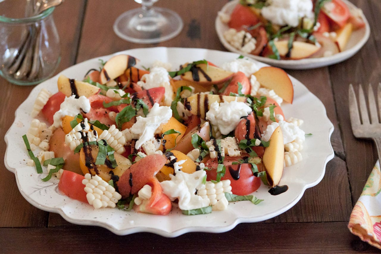 Tomato Peach and Burrata Salad