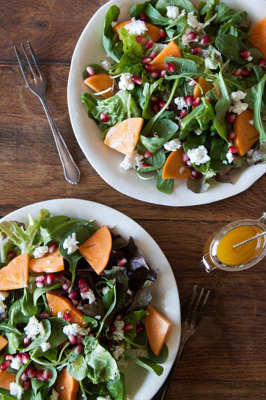 Persimmon, Pomegranate and Ricotta Salad | Fall Farmers Market Salads