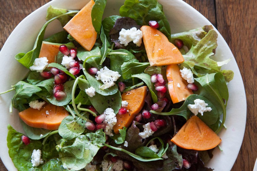 Persimmon, Pomegranate and Ricotta Salad