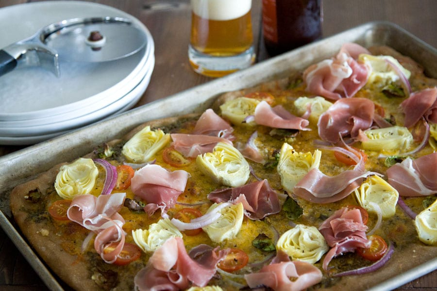 Loaded Veggie and Prosciutto Pizza