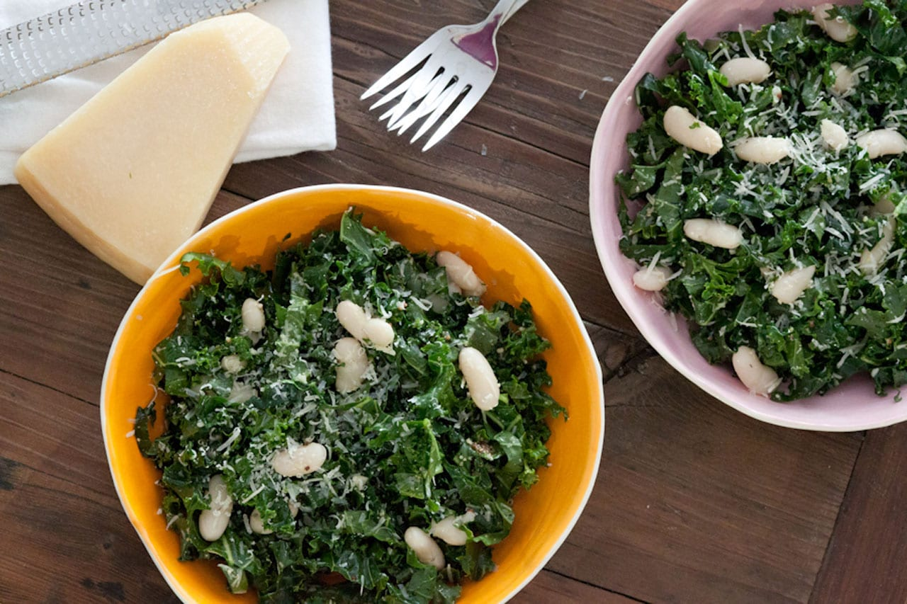 Raw Kale Salad with Lemon, Parmesan and Cannellini beans