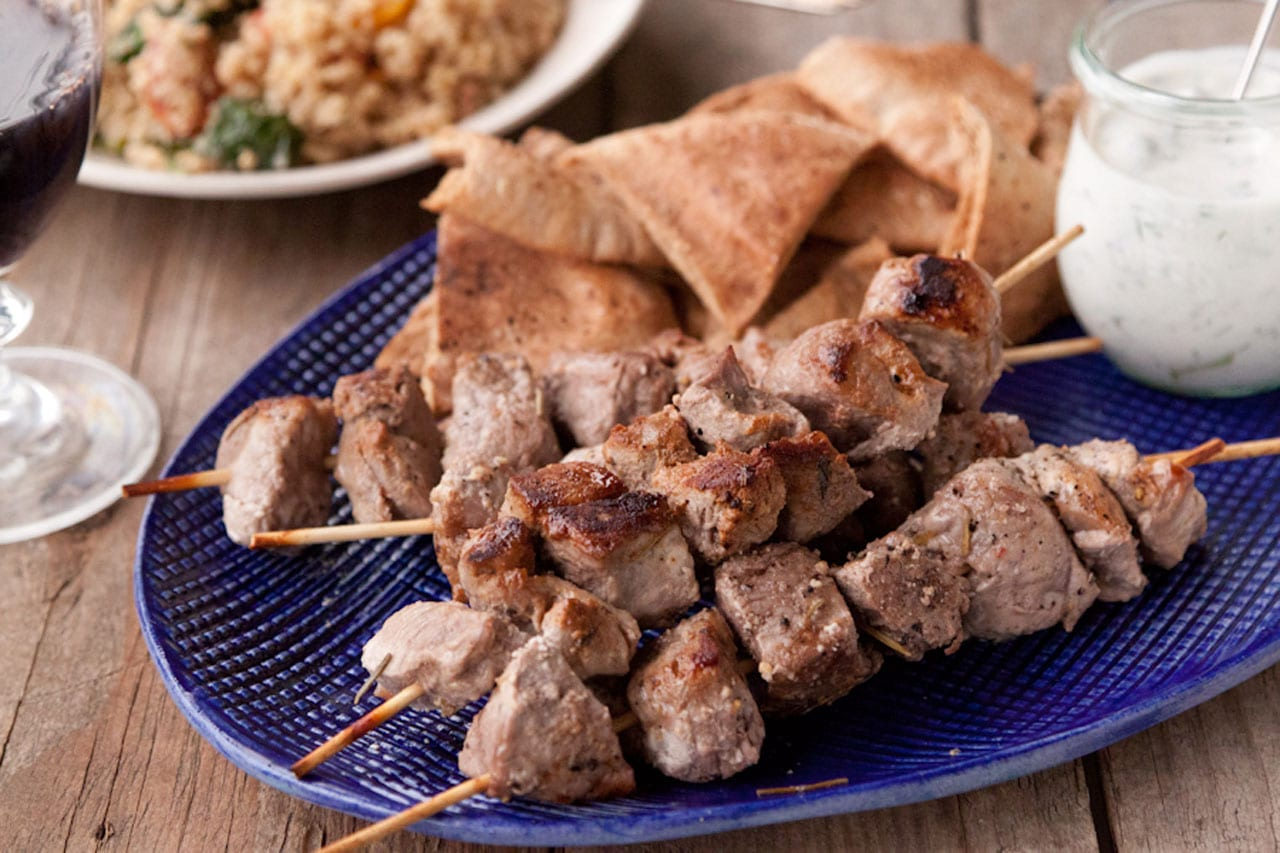 Yogurt Marinated Lamb Kebabs with Tzatziki