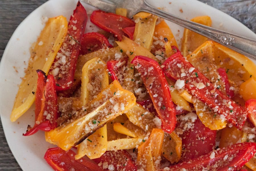 Oven Roasted Peppers with Herbed Breadcrumbs Recipe