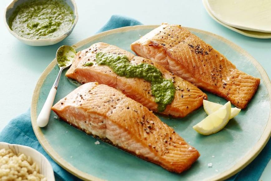 Pan Seared Salmon with an Herb Pesto Vinaigrette - What's Gaby Cooking