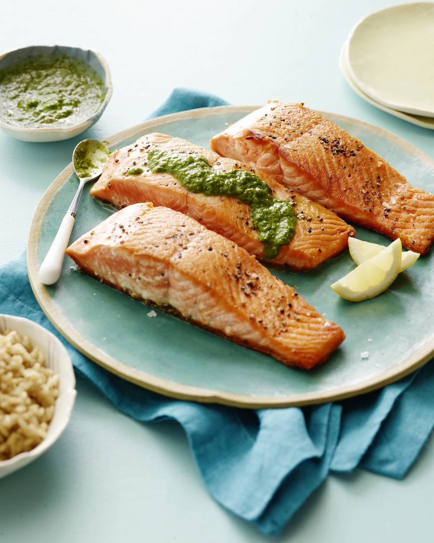 Pan Seared Salmon with an Herb Pesto Vinaigrette Recipe