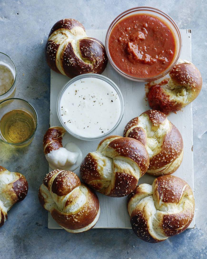 Parmesan Pretzel Knots with Parmesan Cheese Sauce