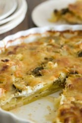 Pesto and Goat Cheese Gratin