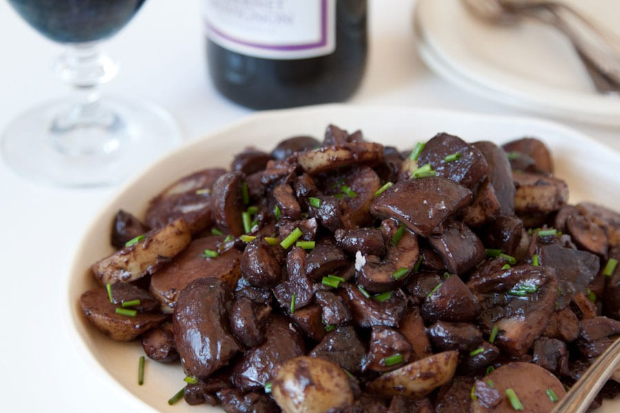 Red Wine Glazed Mushrooms and Potatoes