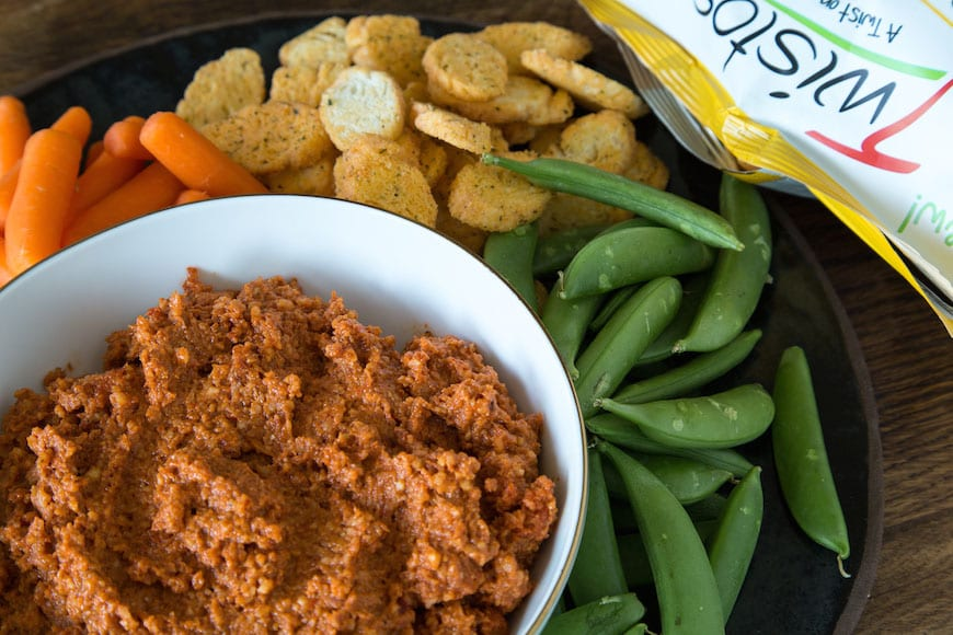 Roasted Red Pepper Dip with Twistos Asiago Baked Snack Bites 01 copy