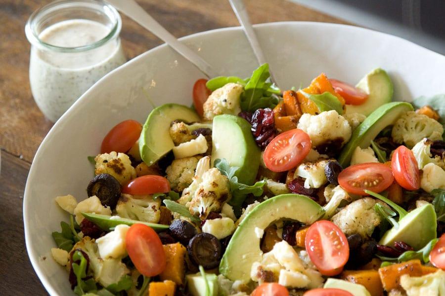 Roasted Vegetable, Arugula and Avocado Salad Recipe