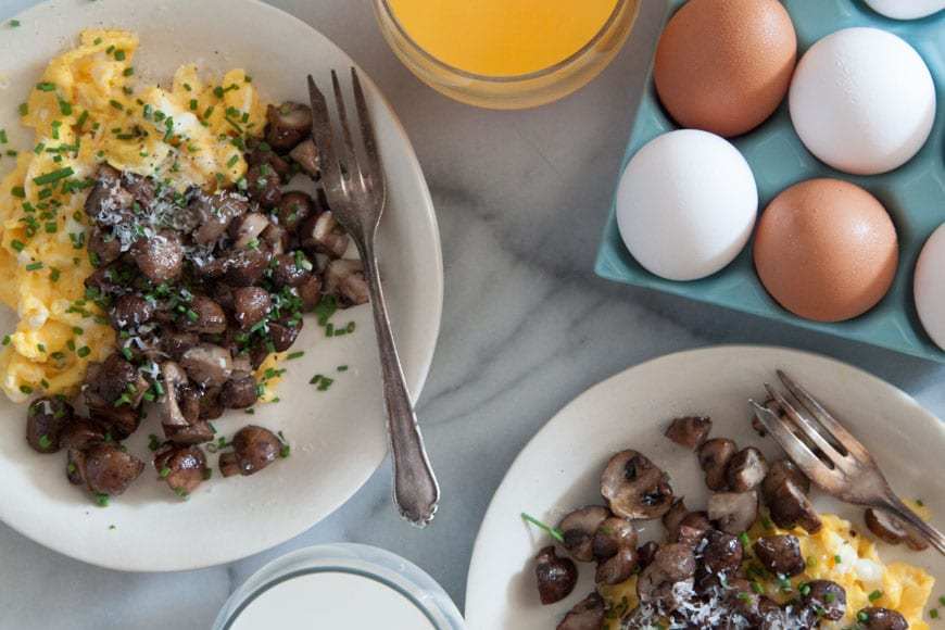 Scrambled Eggs with Roasted Mushrooms  for a Mother's Day Brunch Menu from www.whatsgabycooking.com (@whatsgabycookin)