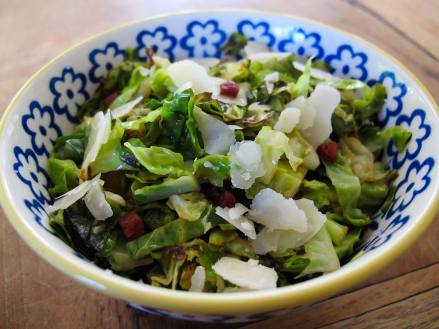 Shredded Brussels Sprouts with Pancetta, Lemon and Parmesan