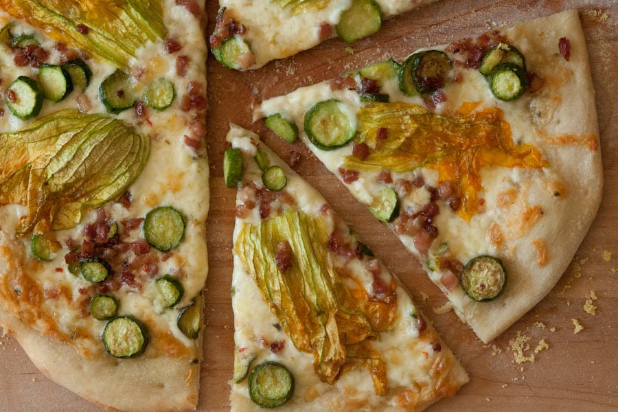Squash Blossom and Pancetta Pizza