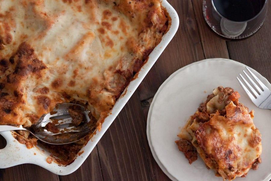 Three Meat Lasagna Overhead
