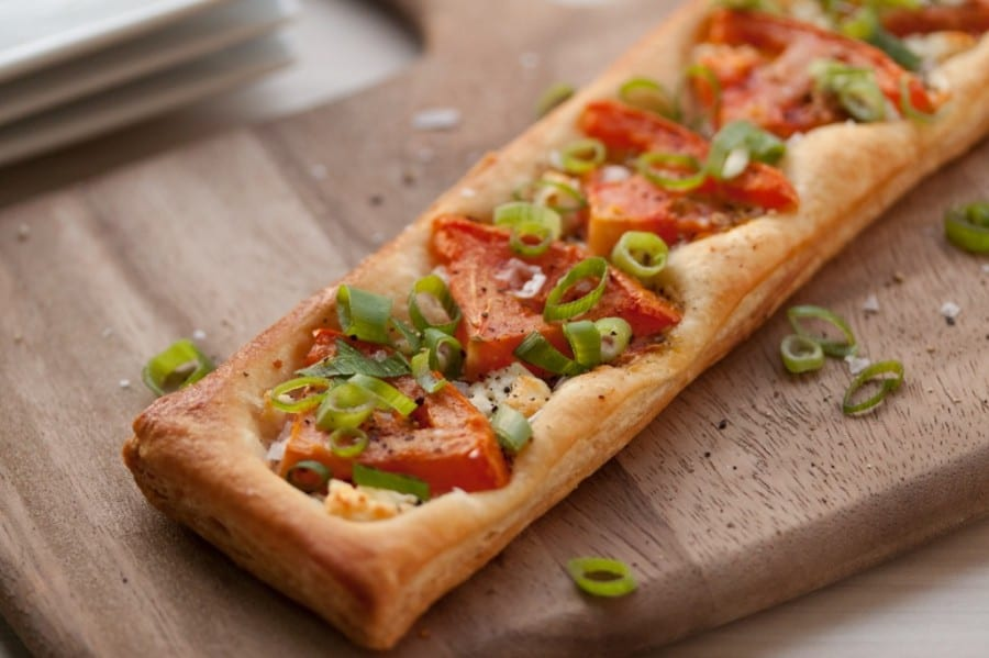 Tomato, Scallion and Goat Cheese Puff Pastry Tart
