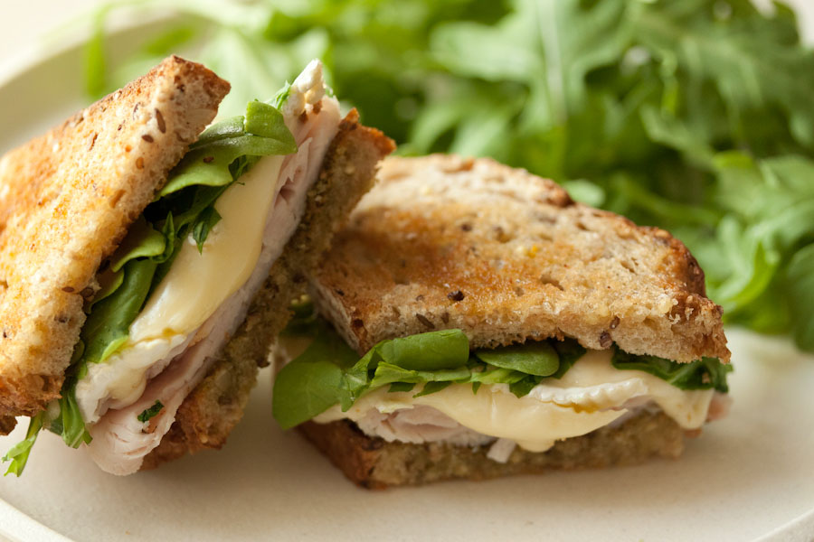 Turkey, Brie, Pesto and Arugula Panini